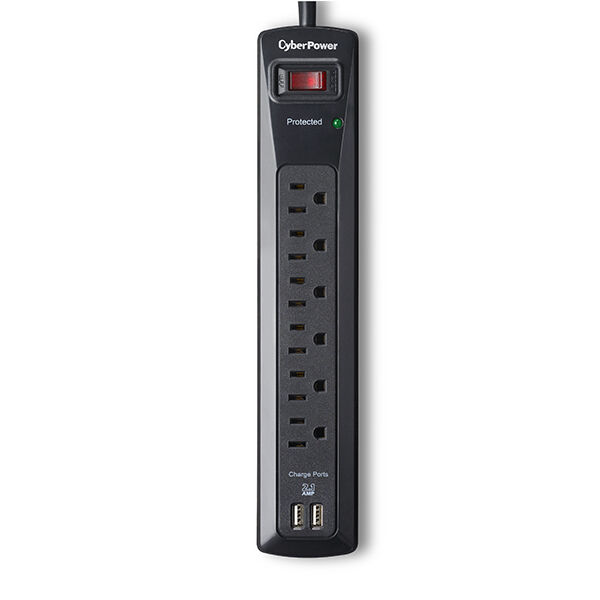 Cyber Power 6 Outlet plus 2 USB Surge Protector model CSP604U Free shipping