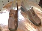 MAILAND preciosos zapatos hoja piel natural marron, tacon comodo nº 40 nuevos