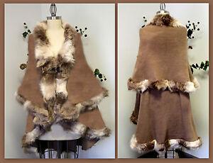 Poncho One Double Caplet varm og Fur Faux Size Cape Layered Celebrity Elegant W0nP4zz