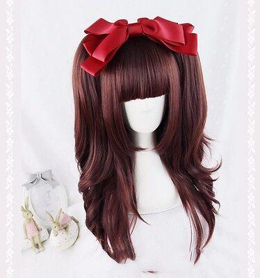 Fashion Cute Harajuku Lolita Wig Wine Red Full Long  Hair Cosplay Gradient