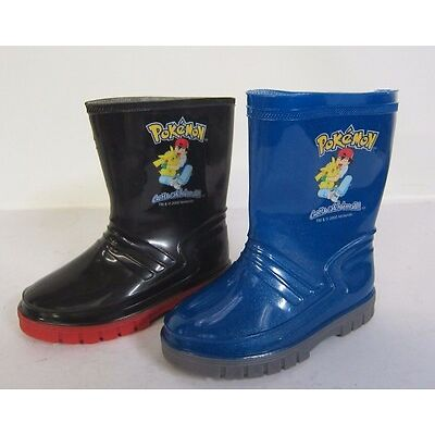 Boys Black & Blue Pokemon Rubber Wellington Boots- Great Price