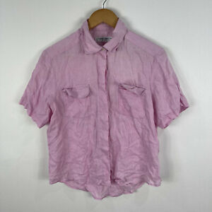 Robert Burton Womens Vintage Linen Shirt Top Size 14 Pink Short Sleeve Button Up