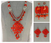 Italian Made Designer Fashion Costume Jewelry Set Necklace & 2 Pairs Of Earrings