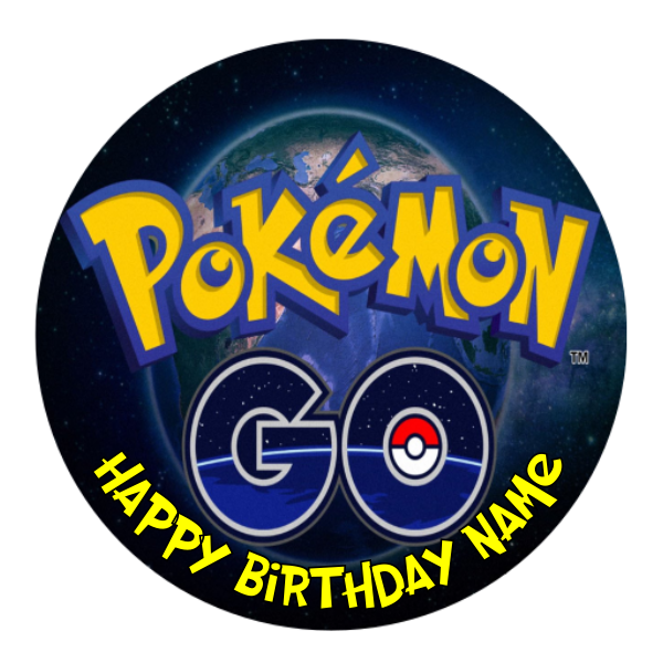 Pokemon Go Personalised Custom Edible Party Cake Decoration Topper Round Image