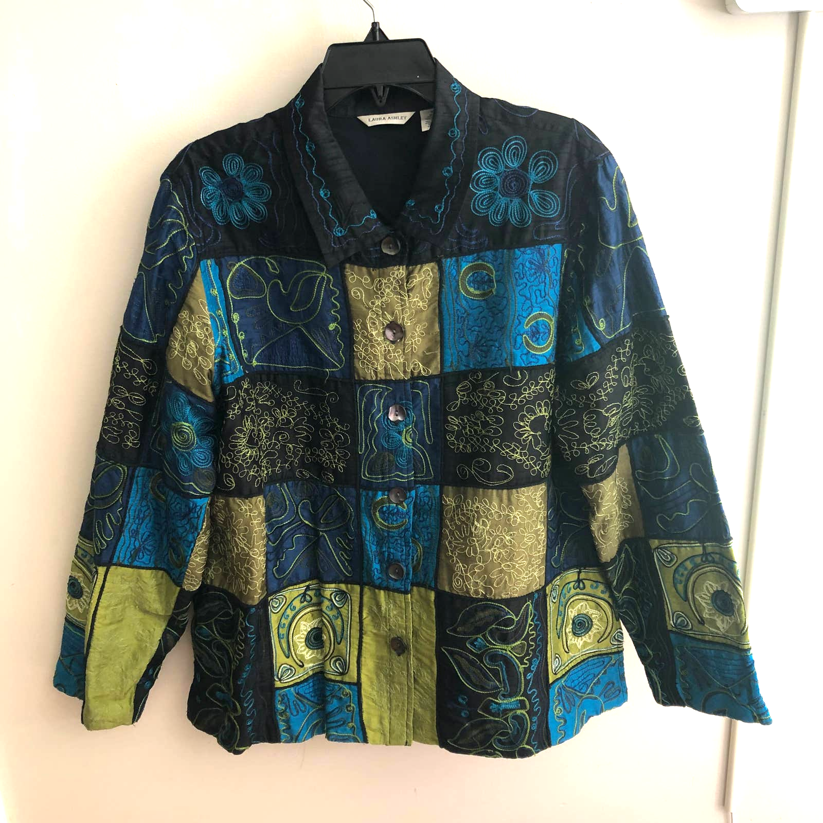 Women Laura Ashley 100% Silk Patchwork Jewel Jacket Wearable Art XL Green Blue