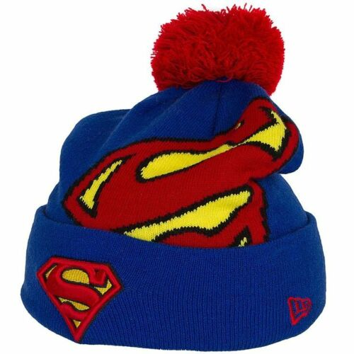 A05 NEW ERA OFFICIAL SUPERMAN Blue and Red Hero Knit Bobble Hat Beanie NEW