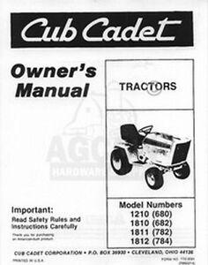 CUB CADET 1210 1810 1811 1812 Owners Operators Manual | eBay