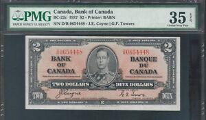 1937-Canada-Bank-Note-2-KGVI-BC22c-Coyne-Towers-PMG-VF35-EPG-TMM