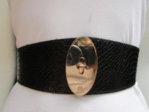 Women New Waist Hip Black Adjustable Trendy Belt Gold Oval Buckle Size XS S M