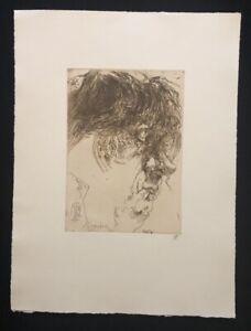 """Horst Janssen, anche Portrait """"Wuschel"""", acquaforte, 1982, firmato a mano"""