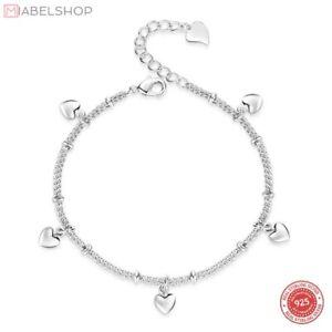 Armband-Damen-925-Silber-Armbaender-Herz-Herzen-Kreis-Anhaenger-glaenzend