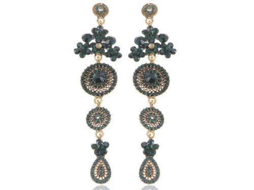 Nuevo étnico tribal de lujo de Asia moda cristal flor cuelgan pendientes Rhines