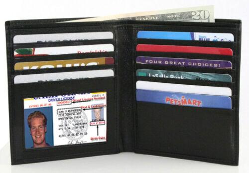 BLACK GENUINE LEATHER Mens Hipster Bifold Wallet 12 Slot Card Holder