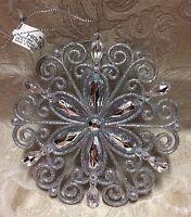 Macy's Holiday Lane Silver Snowflake Burst Medallion Gem Ornament