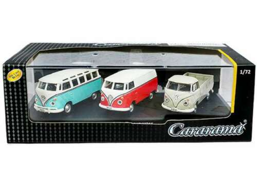 VW Käfer Beetle VW T1 Bus 1:72 Cararama 3er Set Mini Ton Military Militär