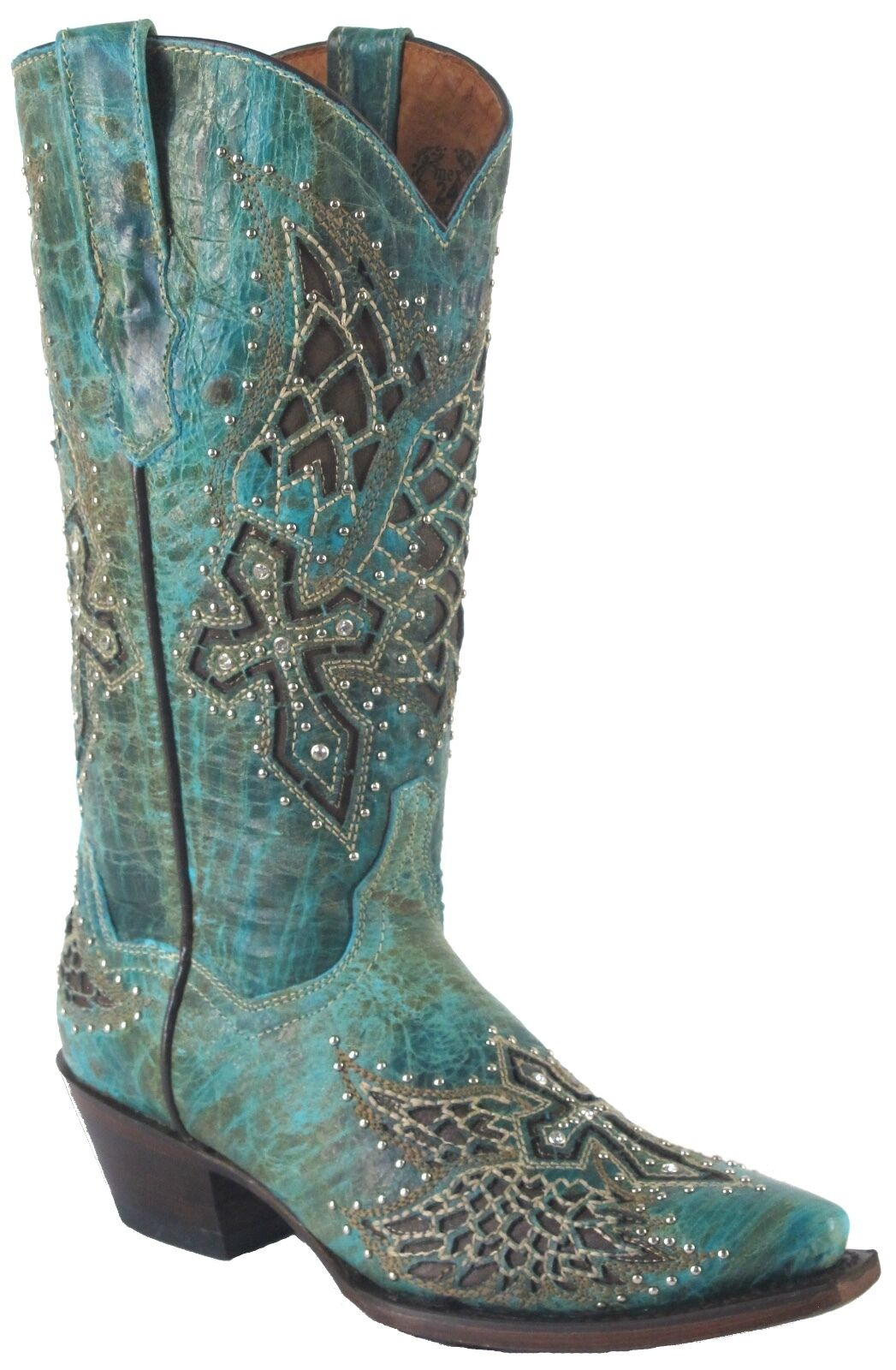 Women's Wings Cross Stud Distressed Leather Leather Leather Cowgirl Western Boots Snip Turquoise 12bc45