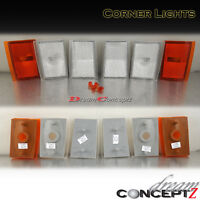 90-93 Chevy Ck Full Size Silverado Truck Clear Corner Lights 6 Pieces