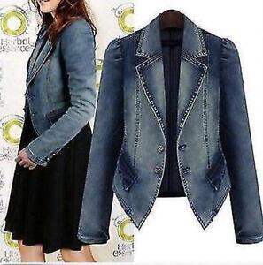 Plus Size Womens Denim Coat Formal Jean Jacket Slim Fit Blazer ... 21a7ef305e