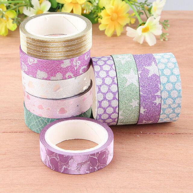 10x DIY Self Adhesive Glitter Washi Masking Tape Sticker Craft Decor 15mmx3m YK