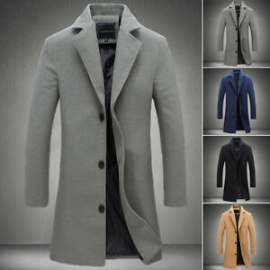 coupe-slim-homme-Trench-coat-Manteau-long-revers-veste-d-039-HIVER-CHAUD-MODE