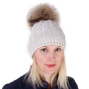 3c250c95f8a Cream-coloured Wool Hat with Raccoon Fur Pom Pom Winter Cap Ecru ...