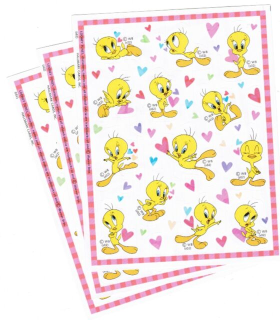 3 Sheets Tweety Bird Looney Tunes Scrapbook Stickers 2002 Love