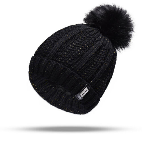 Damen Bommel Strickmütze Fellbommel Hut Damenmütze Beanie Mütze Wolle Winter