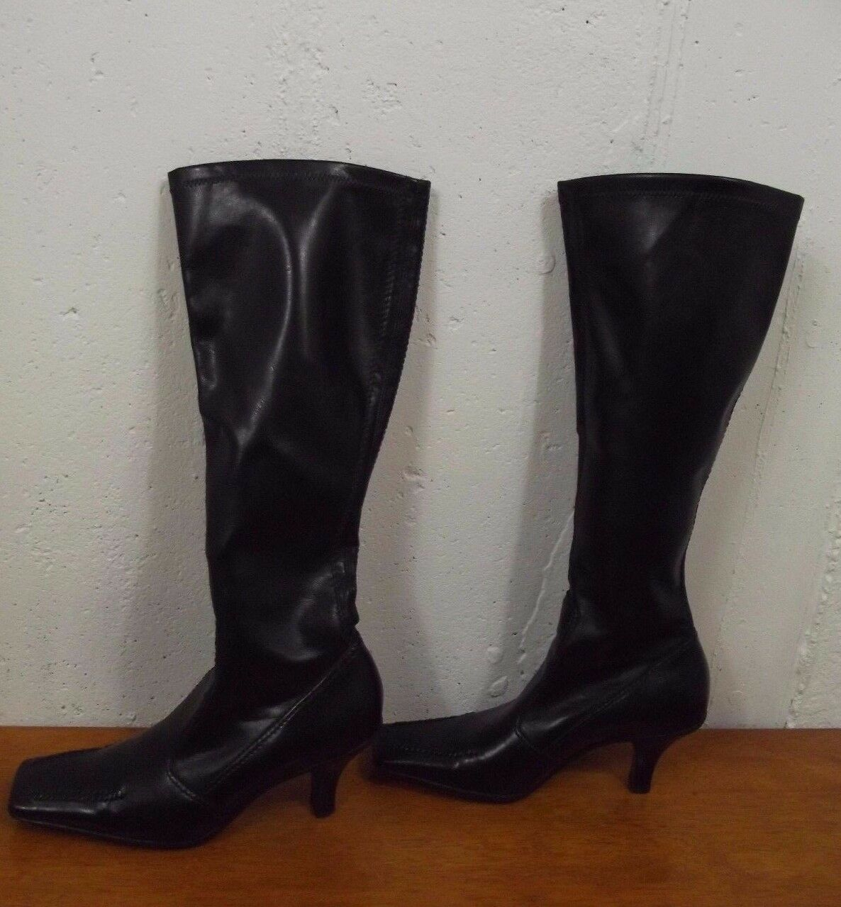 FRANCO SARTO Womens 6 M Black Faux Leather Knee High Pull On Misses Boots Shoes