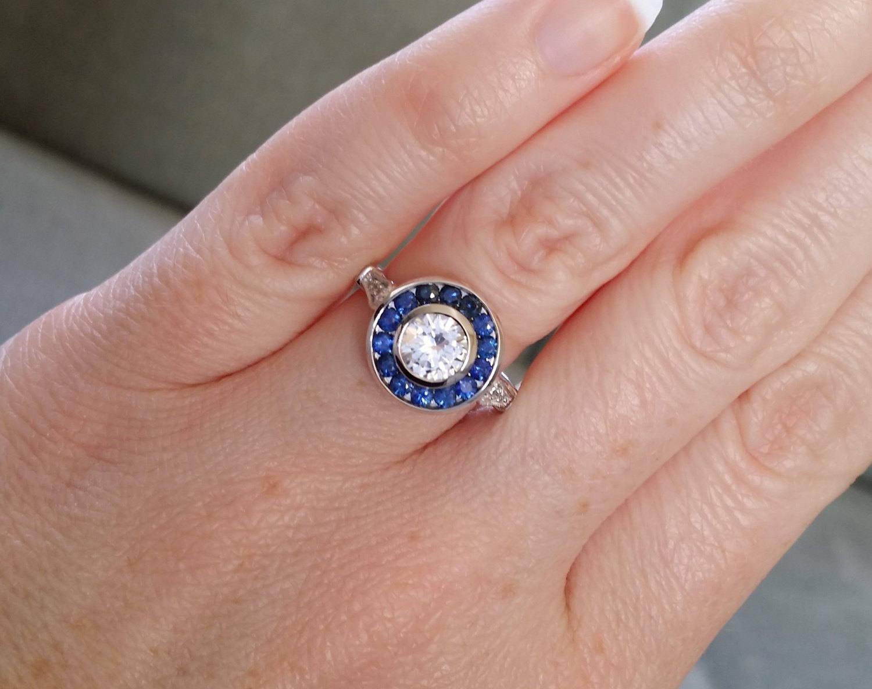 2Ct Round Cut Diamond bluee Sapphire Halo Engagement Ring 18K White gold Finish