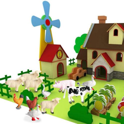 12 Pieces Realistic Simulation Farm Animal Model Kids Educational Toy Playhouse