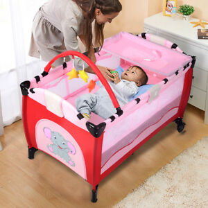 Baby Crib Foldable Playpen Portable Infant Travel Bassinet Bed Cot Bed Pink