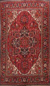 Vintage-Geometric-Heriz-Traditional-Area-Rug-Handmade-Oriental-Wool-Carpet-8x10