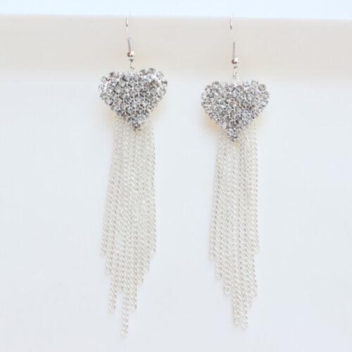 1Pair Womens Heart Party Cocktail Dangle Long Tassels Hook Drop Bling Earring Nt