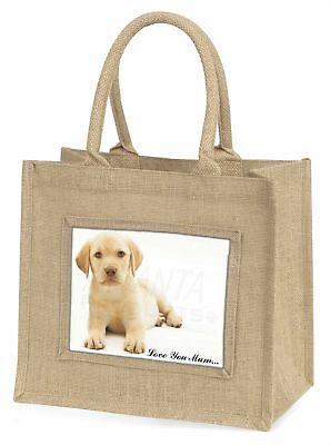 Gelber Labrador Welpe ' Liebe,die sie Mama 'Große natürliche jute-einkaufstasche