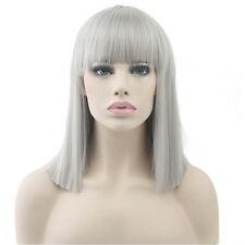 Hotsale Medium Synthetic Anime Wig Cosplay Party Hair Full Wig 14inch Smoky Gray