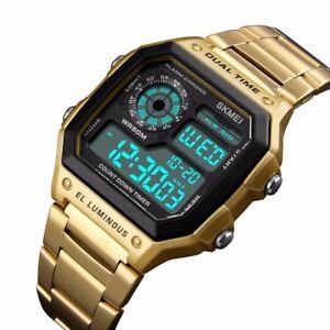 SKMEI-Men-Luxury-Waterproof-Alarm-Stainless-Steel-Digital-Square-Wrist-Watch-US