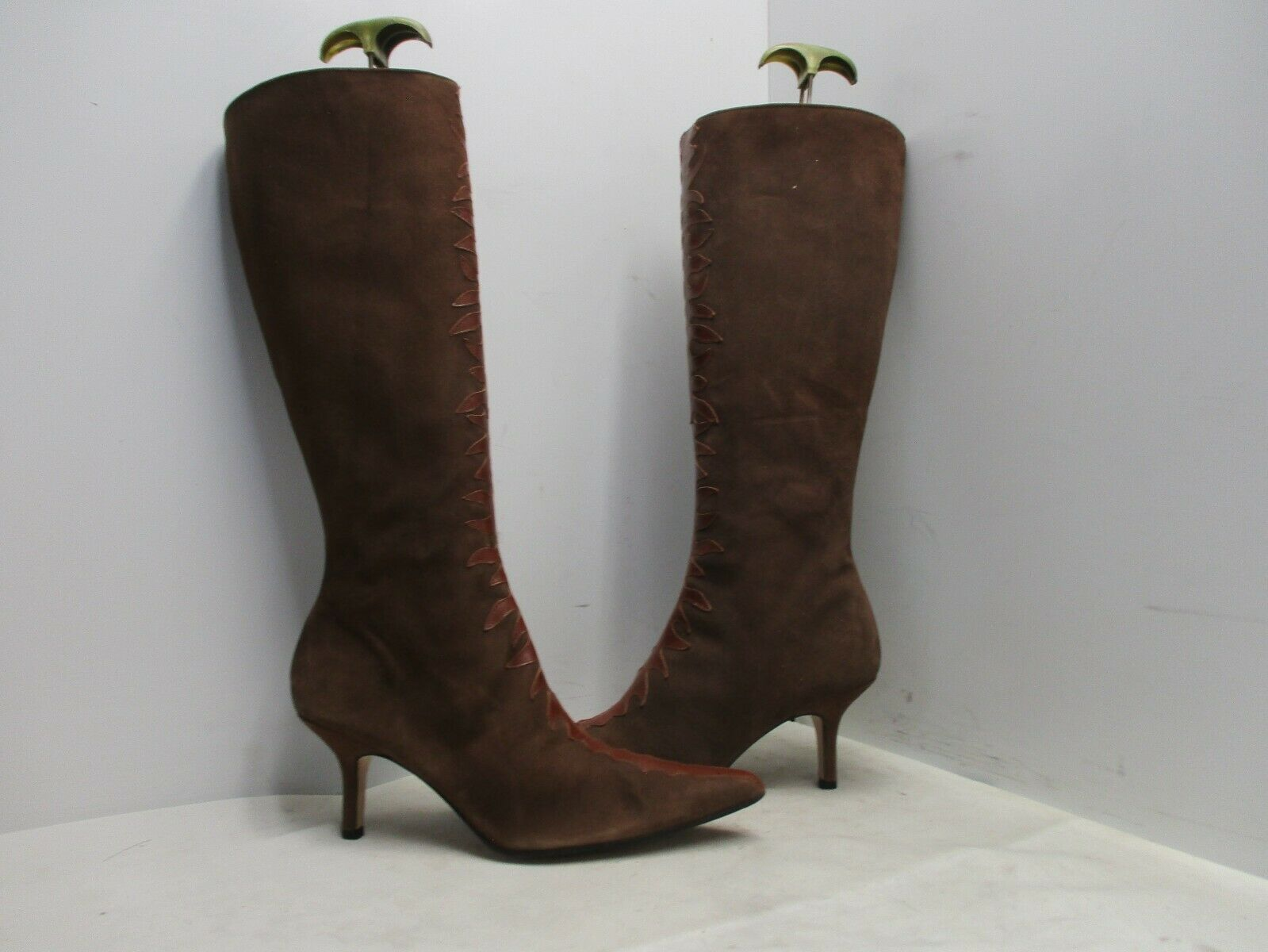 Coup Detat Brown Suede Leather Zip Pointed Toe Fashion Boots Womens Size 7.5 B