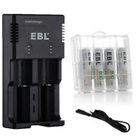 Ebl 4x Aaa Li-ion Rechargeable Batteries+2slots Smart Charger For 18650 26650