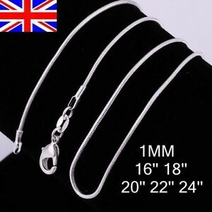 UK-Stock-Wholesale-10-pcs-Silver-Plated-1mm-Snake-Chain-16-18-20-22-24-Inch