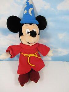 Vintage-MICKEY-MOUSE-Fantasia-Sorcerer-Wizard-Plush-18-034-Walt-Disney-World-Tag