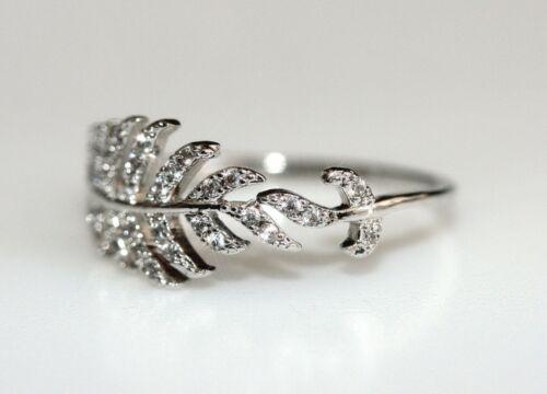 Size O 7.5 #003 Created Tiny Diamond Leaf Shape Ring
