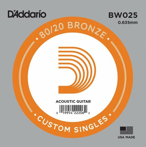 D/'Addario .025 Bronze Wound Single String for Acoustic Guitar BW025