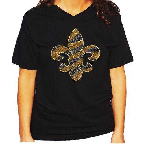 Unisex Rhinestone T-shirt Gold Sequins and Rhinestones Fleur de Lis Women/'s