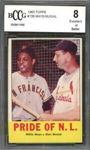 Stan-Musial-Willie-Mays-Card-1963-Topps-138-Pride-Of-N-L-BGS-BCCG-8
