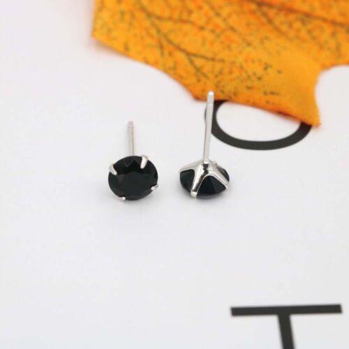 5 Colors Rhinestone 3//4//5//6 mm Four Claws Zircon For Women Men Stud Earrings