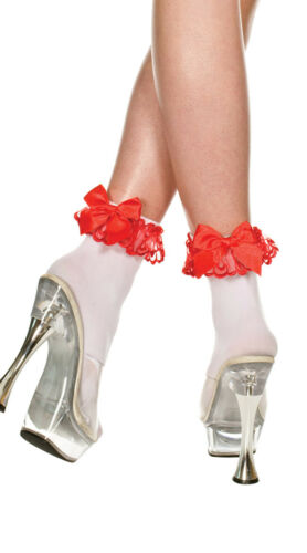 One Size Fits Most Womens Opaque Anklet With Lace And Bow Opaque Ankle Hi With