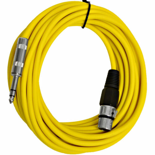 """25 Ft Yellow XLR Female to 1//4/"""" TRS Patch Cable Snake Cords SEISMIC AUDIO"""