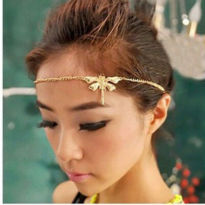 Hot Dragonfly Summer Lady Metal Head Chain Jewelry Headband HairBand Accessories