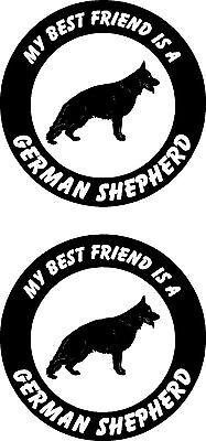 2 my best friend is a German Shepherd dog car windows ROUND vinyl stickers