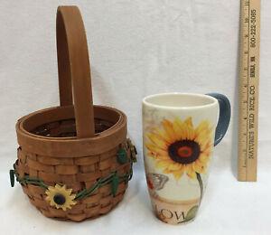 Sunflower Coffee Cup Basket Home Decor Tall Mug Lot 2 Cypress Home Country Ebay